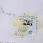 Page de scrap romantique en bleu et jaune